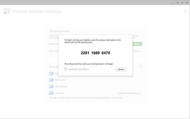 Bạn cần thiết lập mã truy cập tạm thời khi sử dụng Chrome Remote Desktop trên Chrome OS.