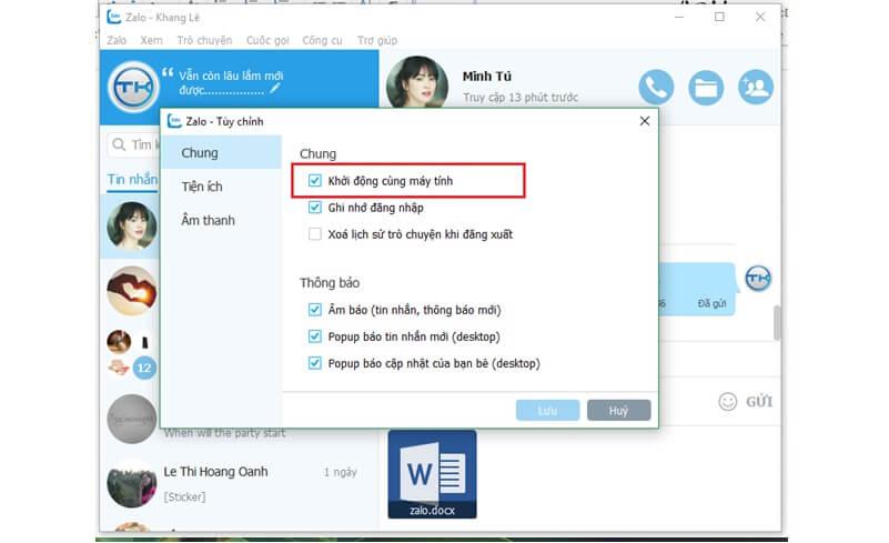 Phần mềm chat trên máy tính Zalo PC